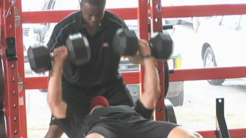Peyton Manning Dumbbell Bench With 80+ Pounds